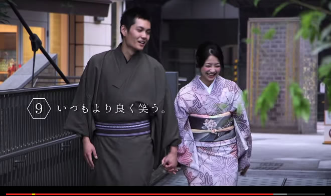 動画:カップルで着物で街歩き